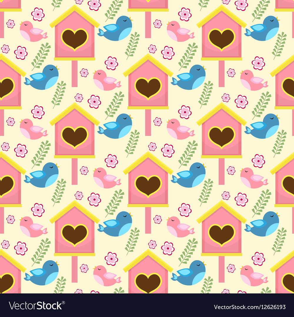 Spring seamless pattern with birds and starling vector image