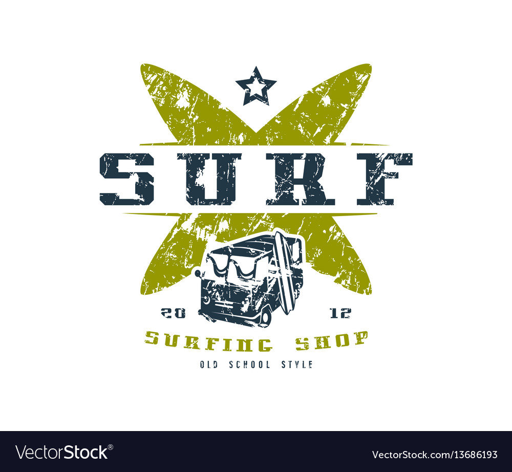 Surfing shop emblem graphic design for t-shirt