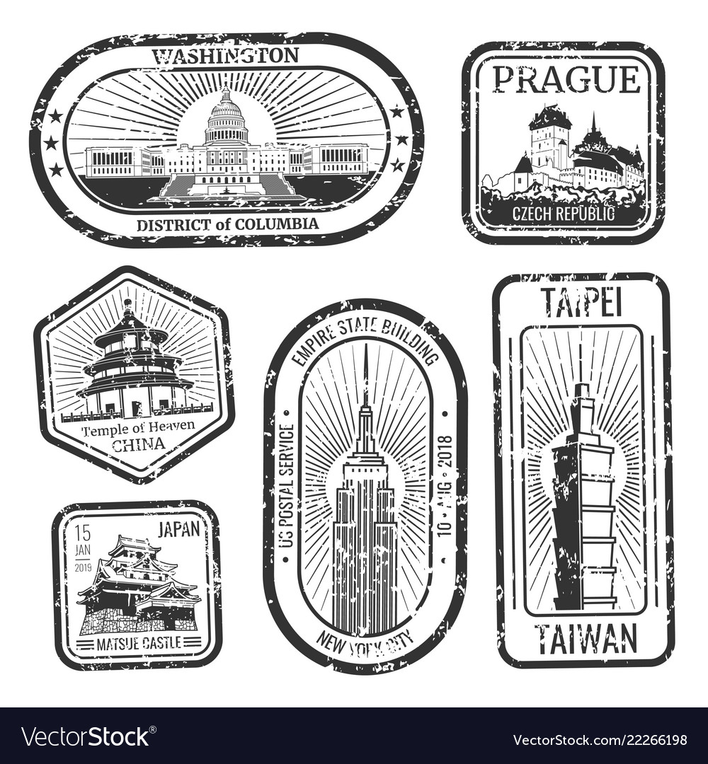 Black and white vintage travel stamps with major