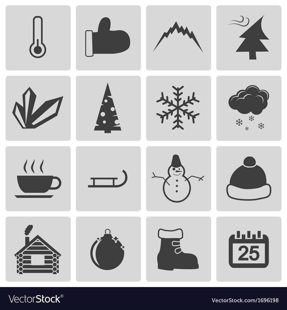 Black winter icons set