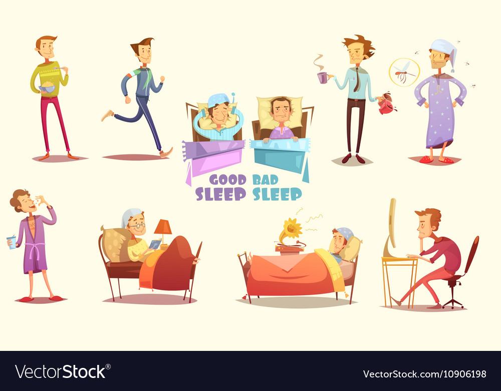 Good And Bad Sleep Icons Retro Cartoon Set