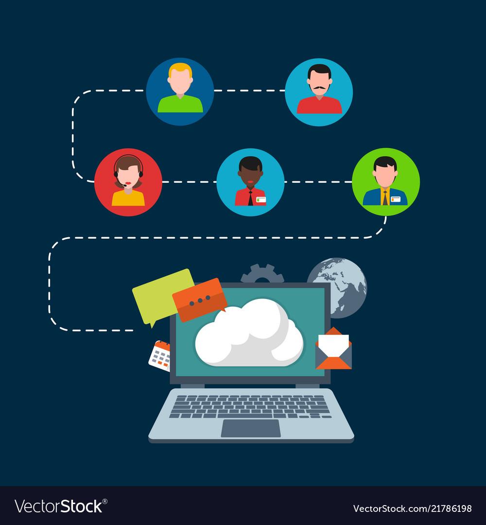 Infographic social network concept labtop backgrou