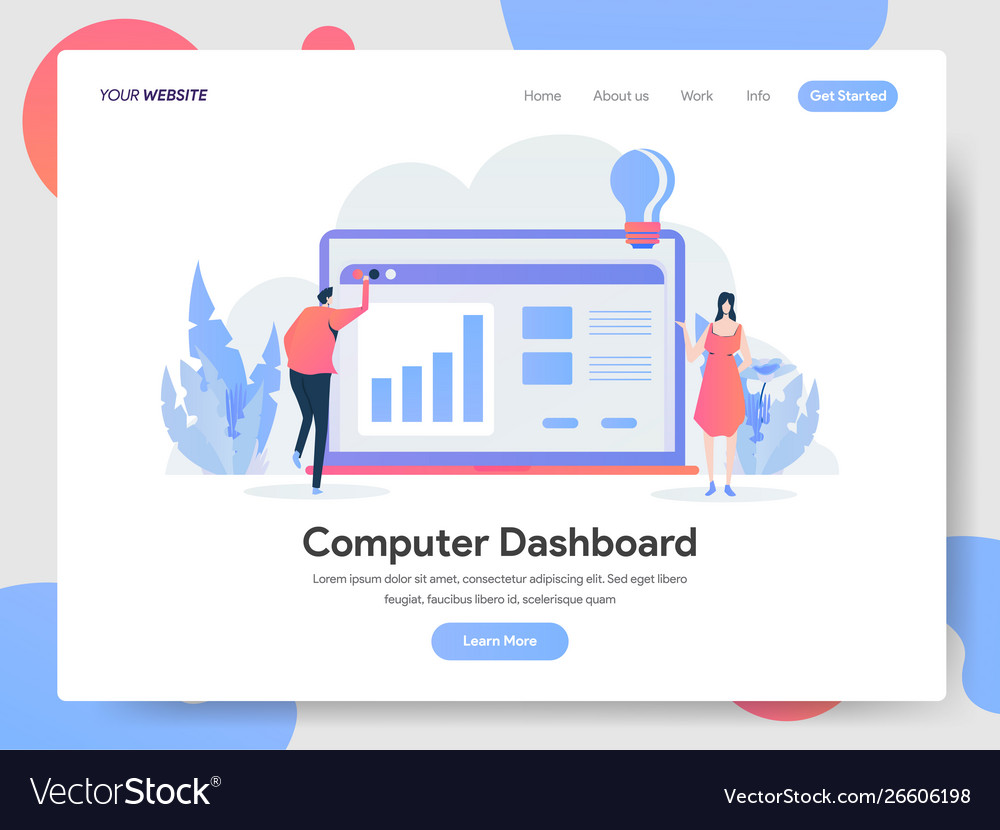 Landing page template computer dashboard