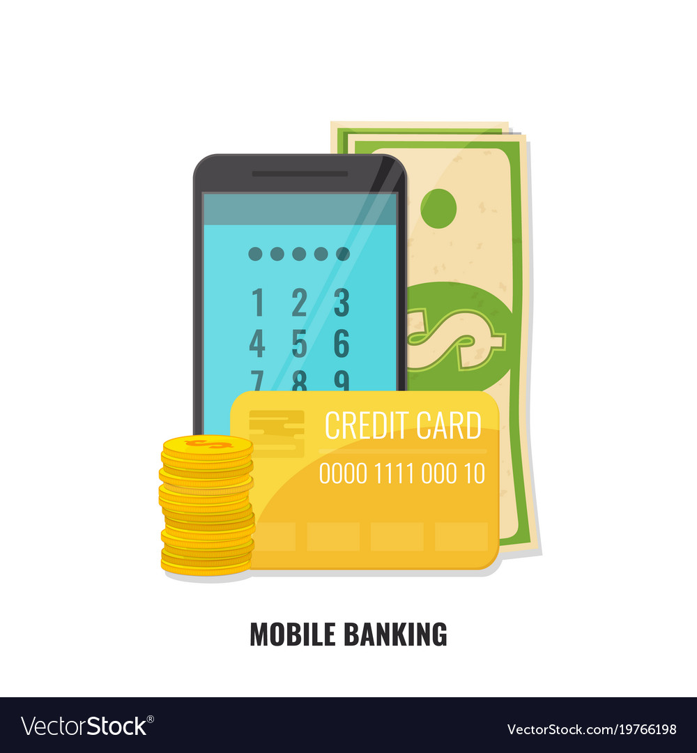Mobile banking concept smartphone with cash and