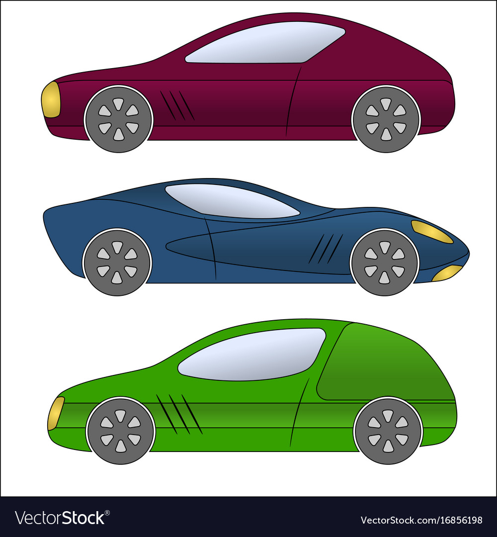 Set of different car types