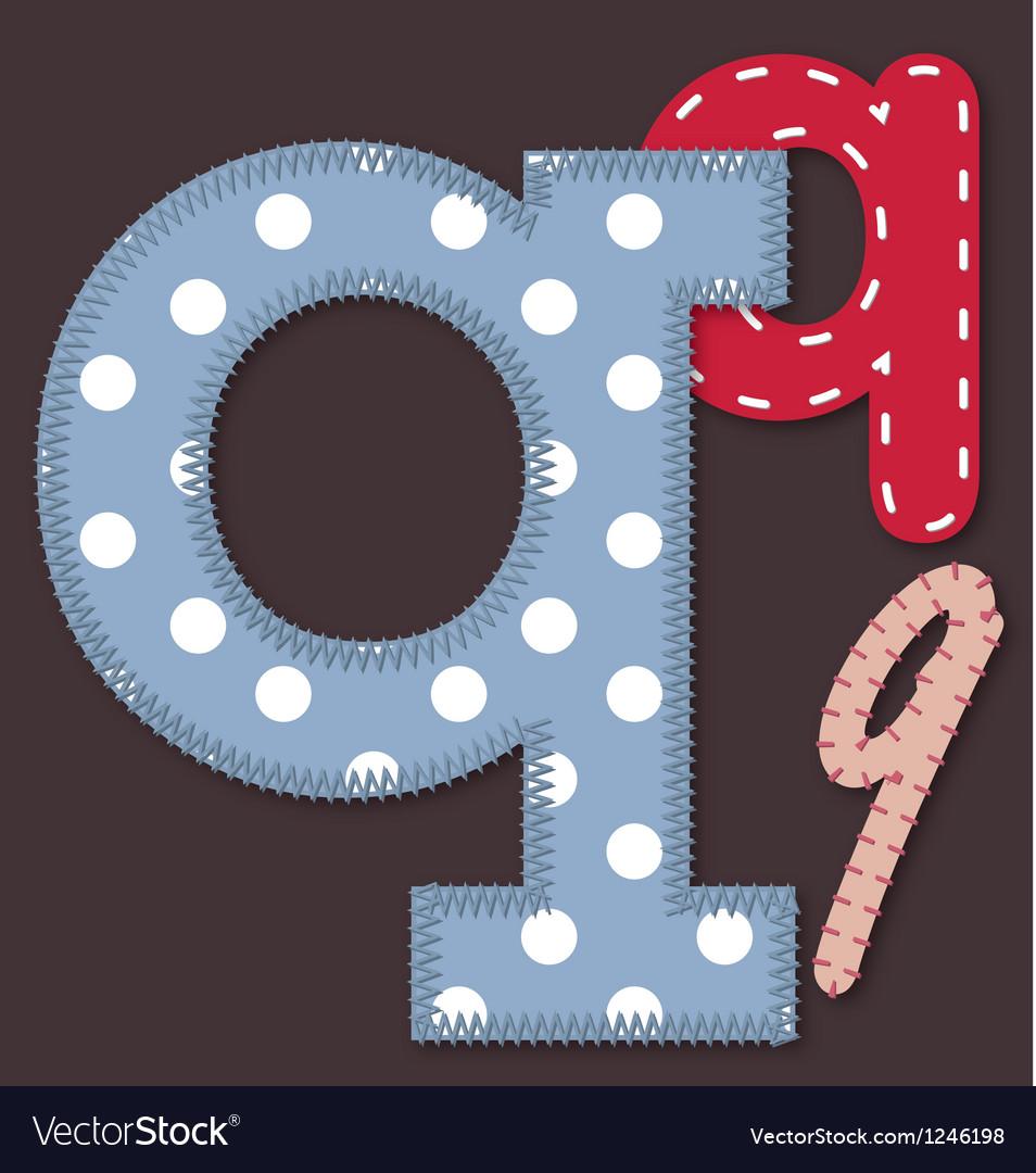 Set of stitched font - Letter Q