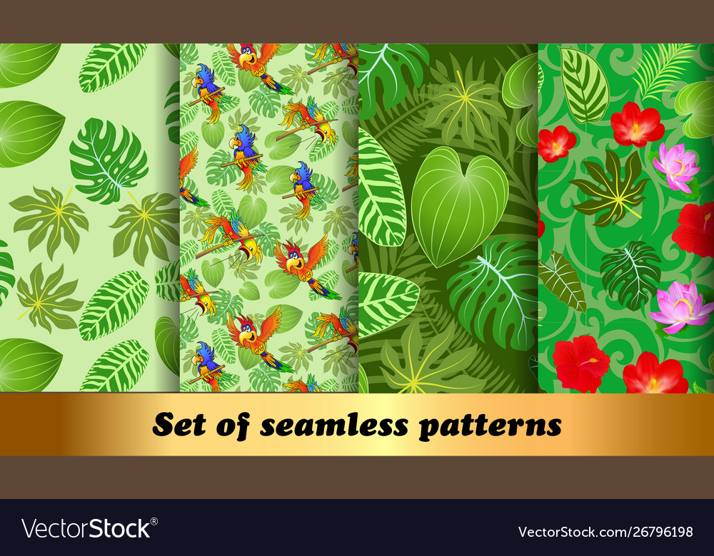 Set seamless patterns tropical flora and fauna