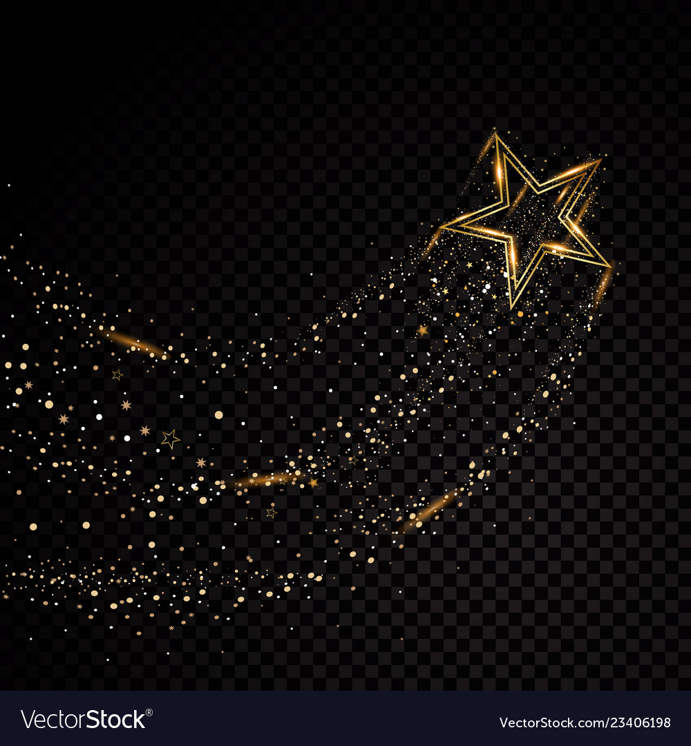 Star sparkle golden frame isolated on black