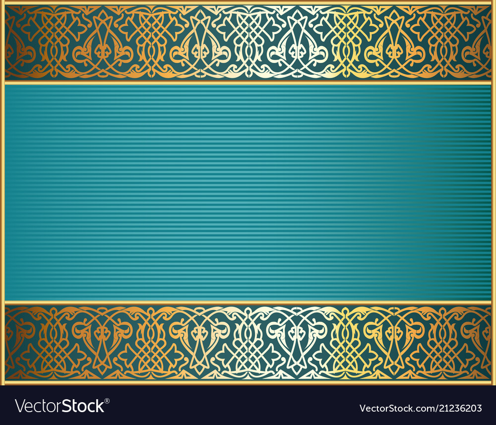 Background frame with gold ornament and place for
