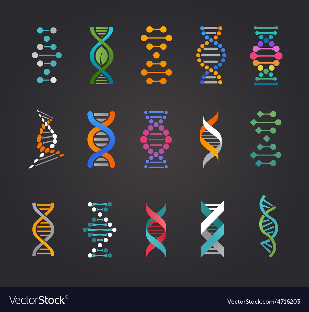 DNA genetic elements and icons collection