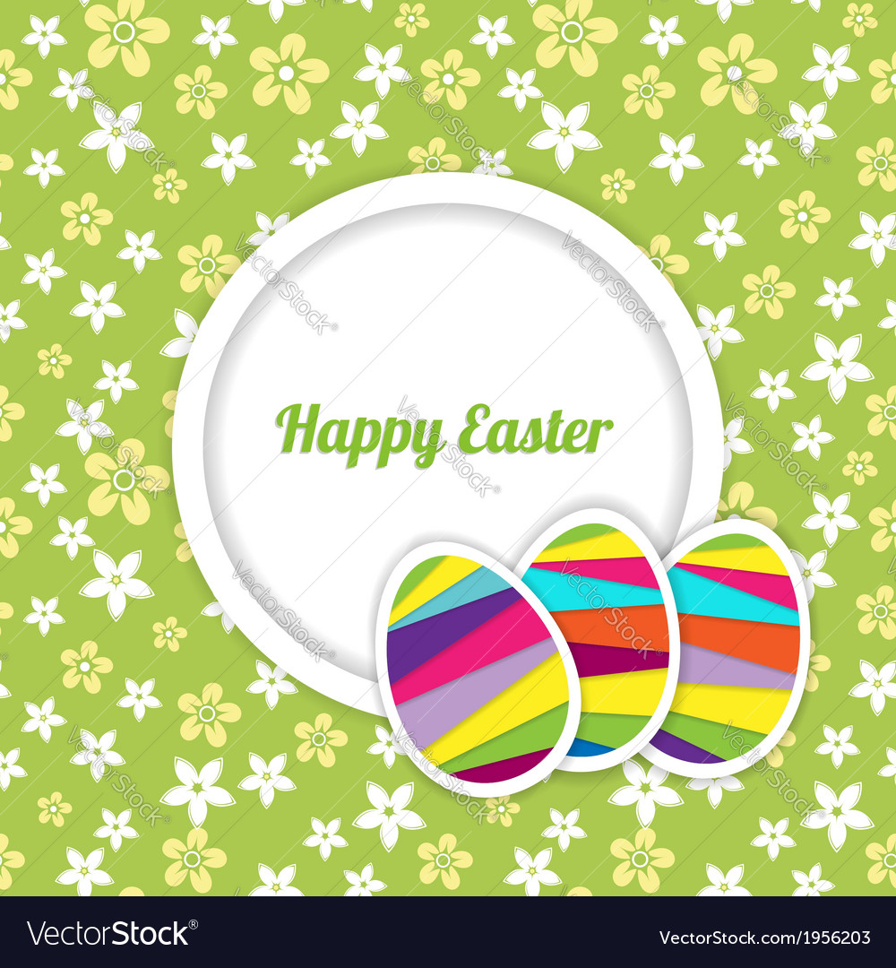 Easter card template on the floral background