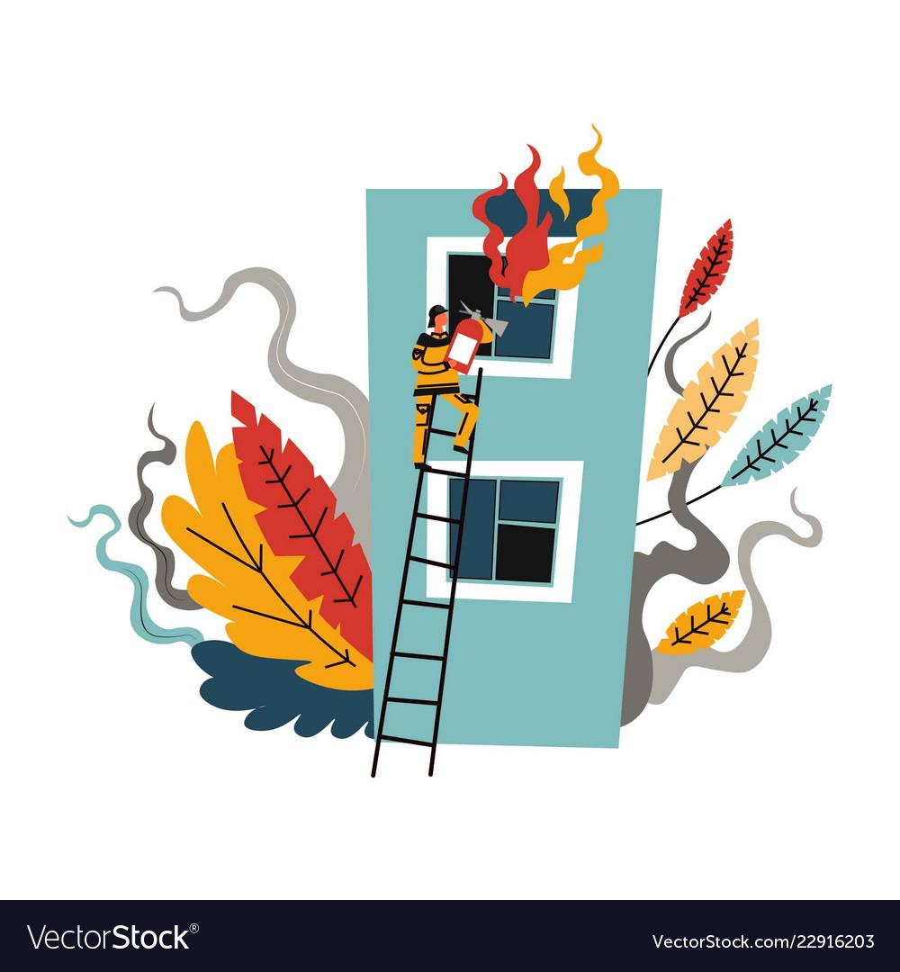 Fire brigade man firefighter climbing on ladder
