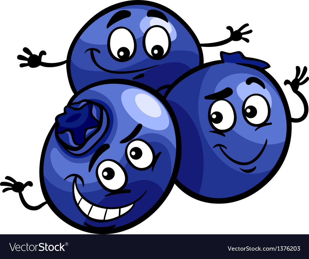 Funny blueberry fruits cartoon vector image