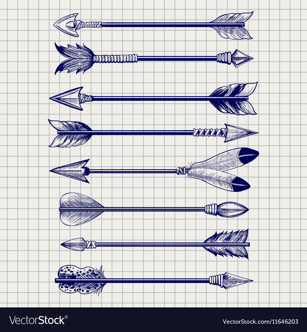 Hand drawn feathery arrows sketch vector image