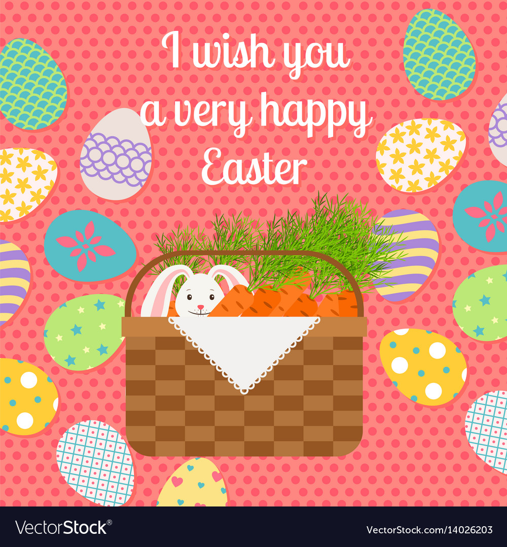 Happy easter pink vertical greeting card
