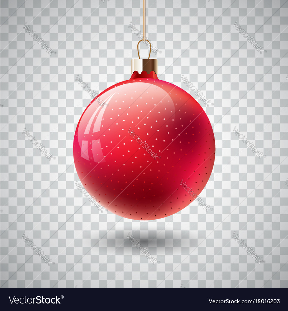 Red Christmas Ball Ornaments.Isolated Red Christmas Ball On Transparent