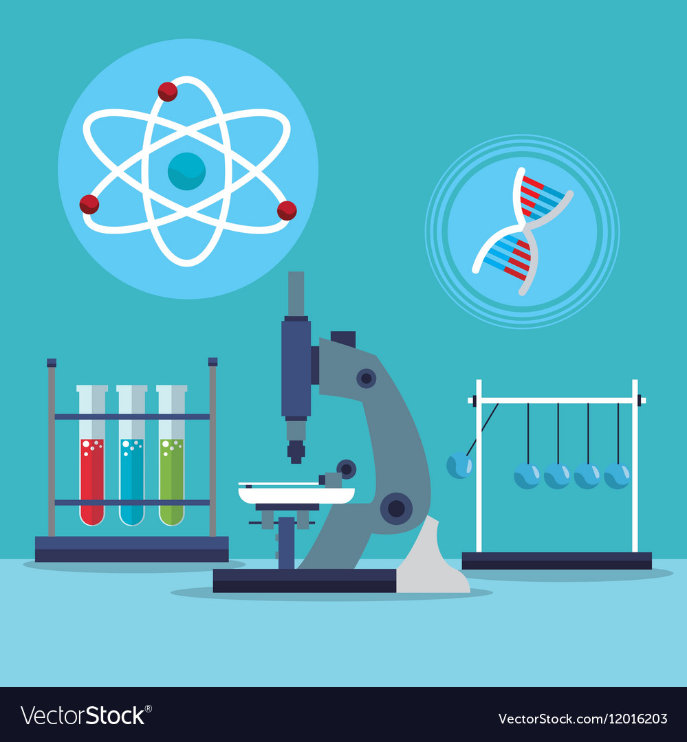 Microscope atom dna test tube laboratory vector image ccuart Images