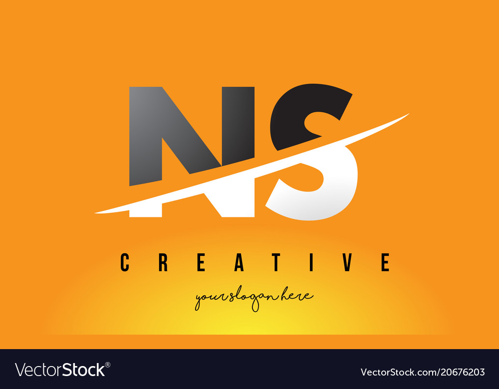 Ns n s letter modern logo design with yellow