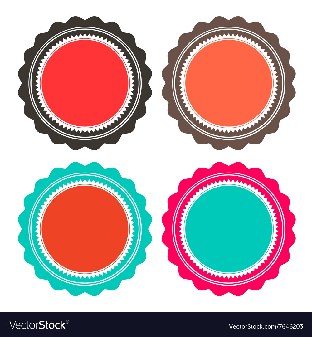 Paper Retro Circle Empty Labels Set Isolated on