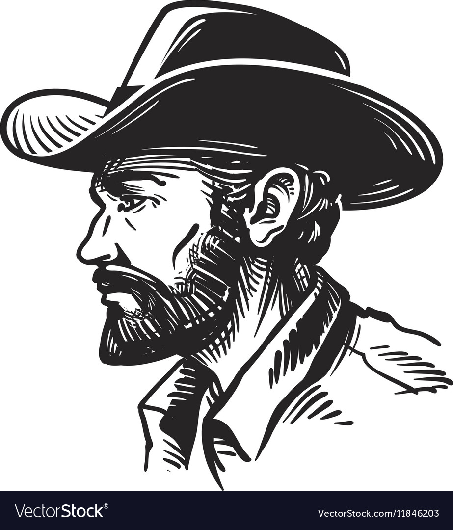 Portrait man in cowboy hat Sketch