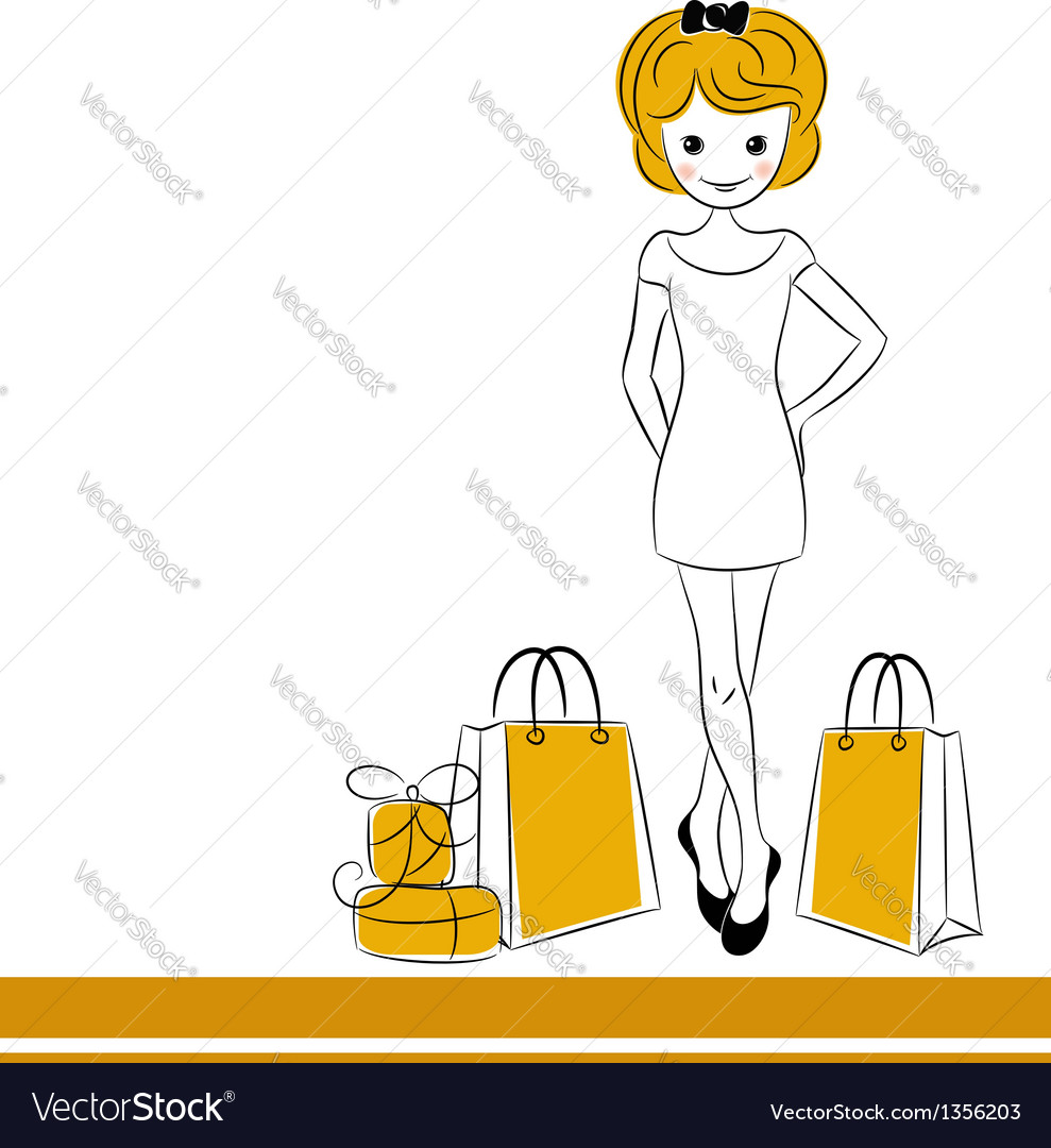 Pretty blond girl with sale bags