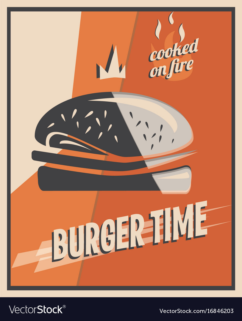 Retro poster with burger with beef meat vector image