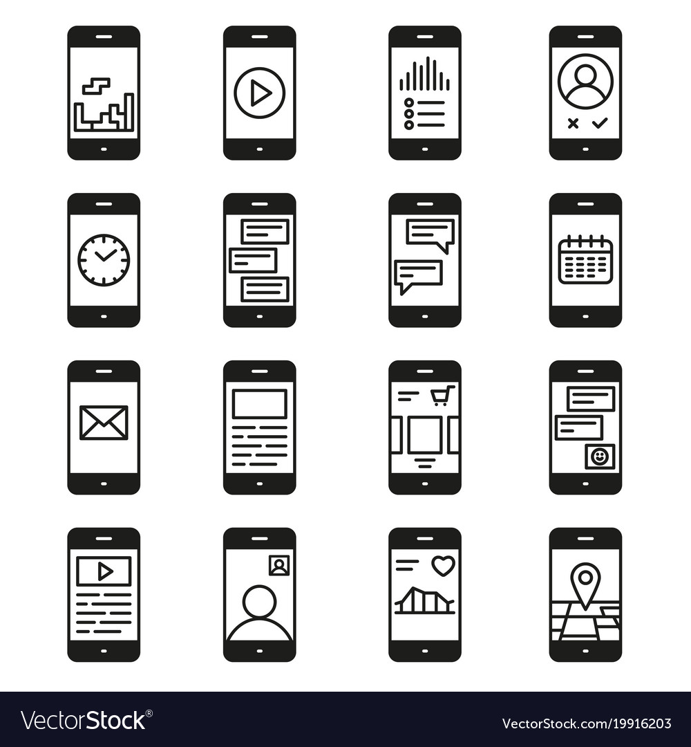 Smartphone functions and apps icon set