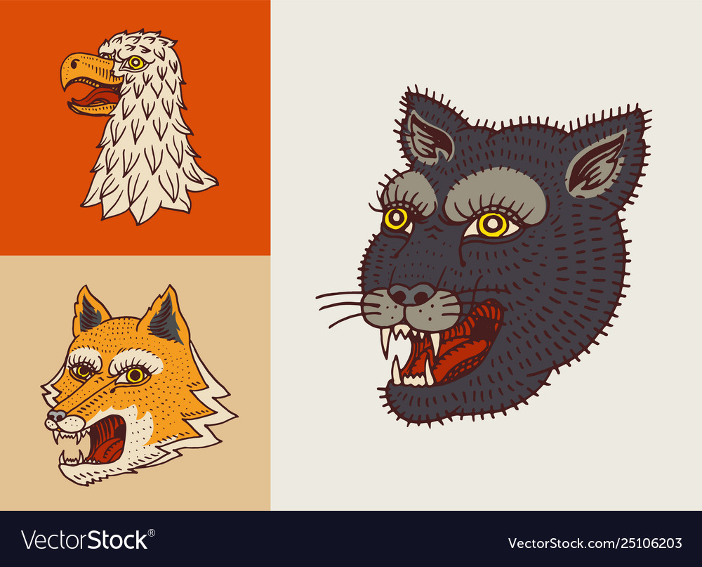 Vintage animal heads logo for t-shirt wild
