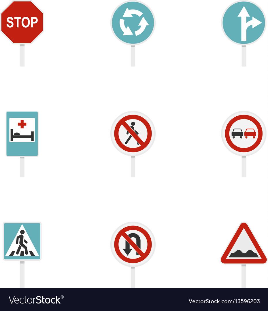 Warning traffic sign icons set flat style