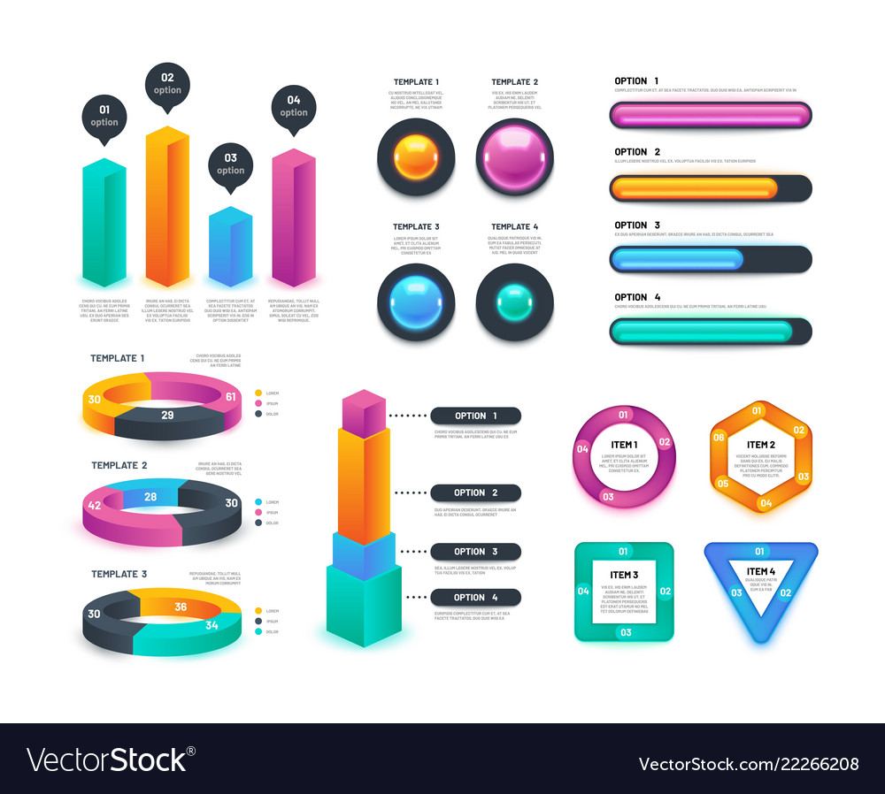 Business infographic workflow charts circular