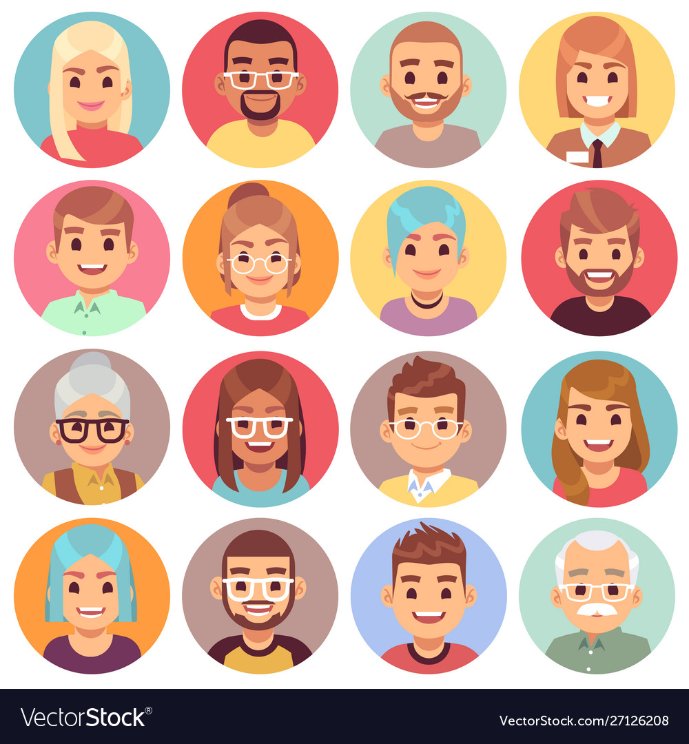 Cartoon avatars people different sexes ages