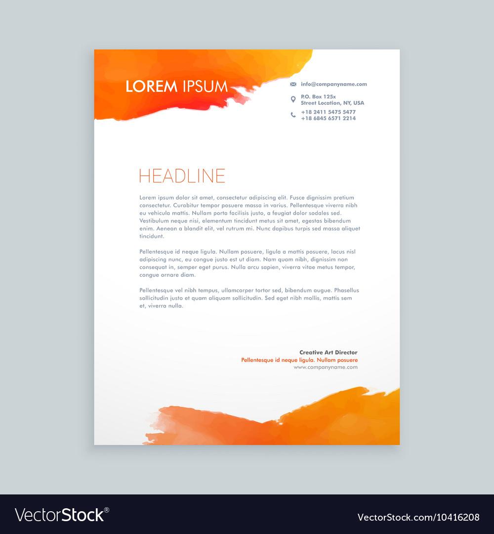 Creative Orange Ink Letterhead Design Royalty Free Vector