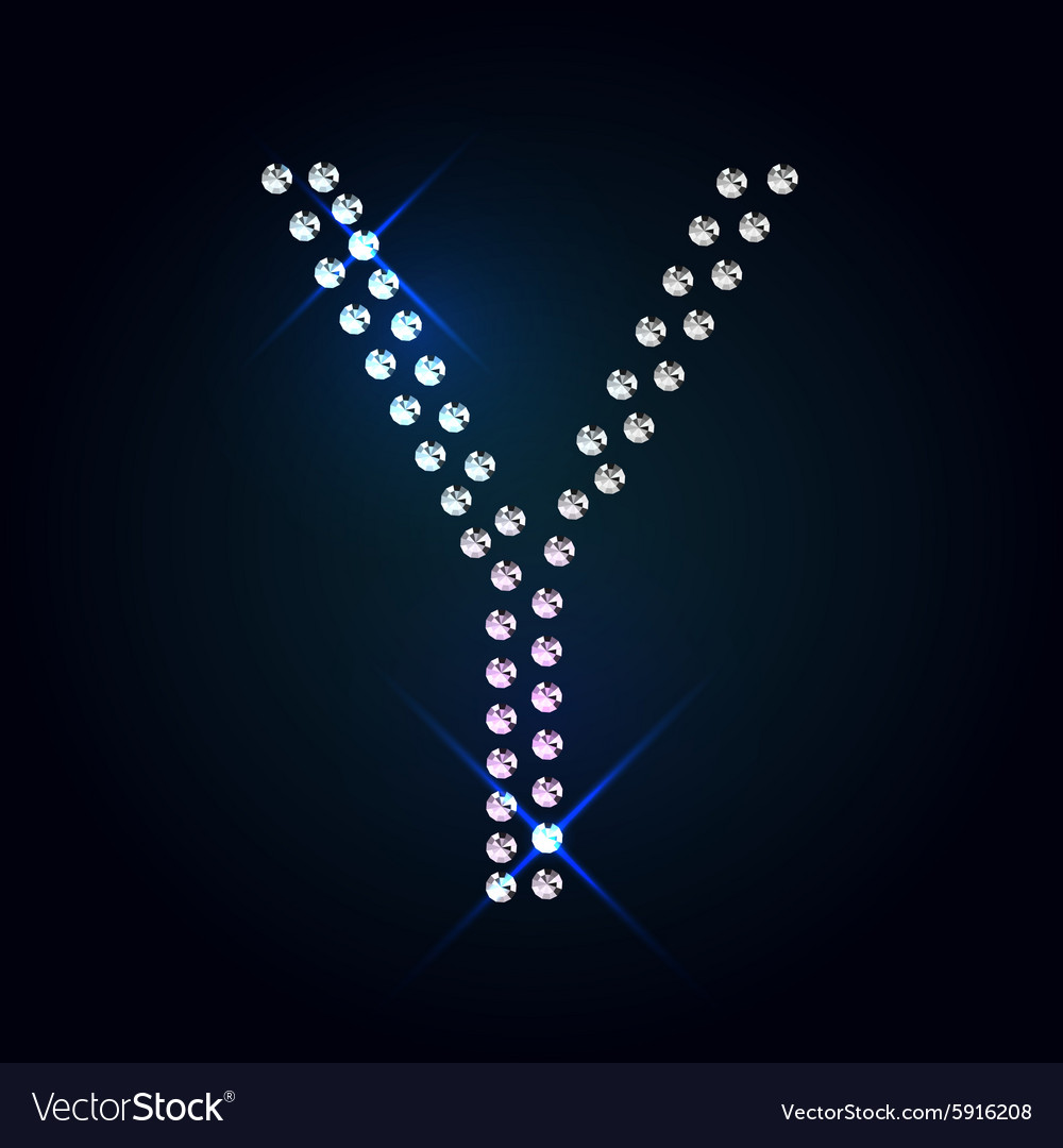 Gems Y letter Shiny diamond font