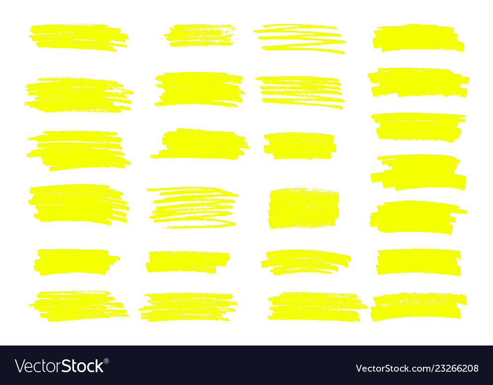 Marker yellow lines highlighter brush vector