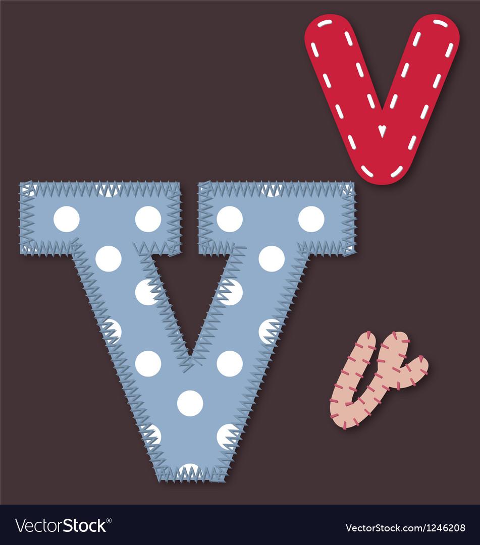 Set of stitched font - Letter V vector image