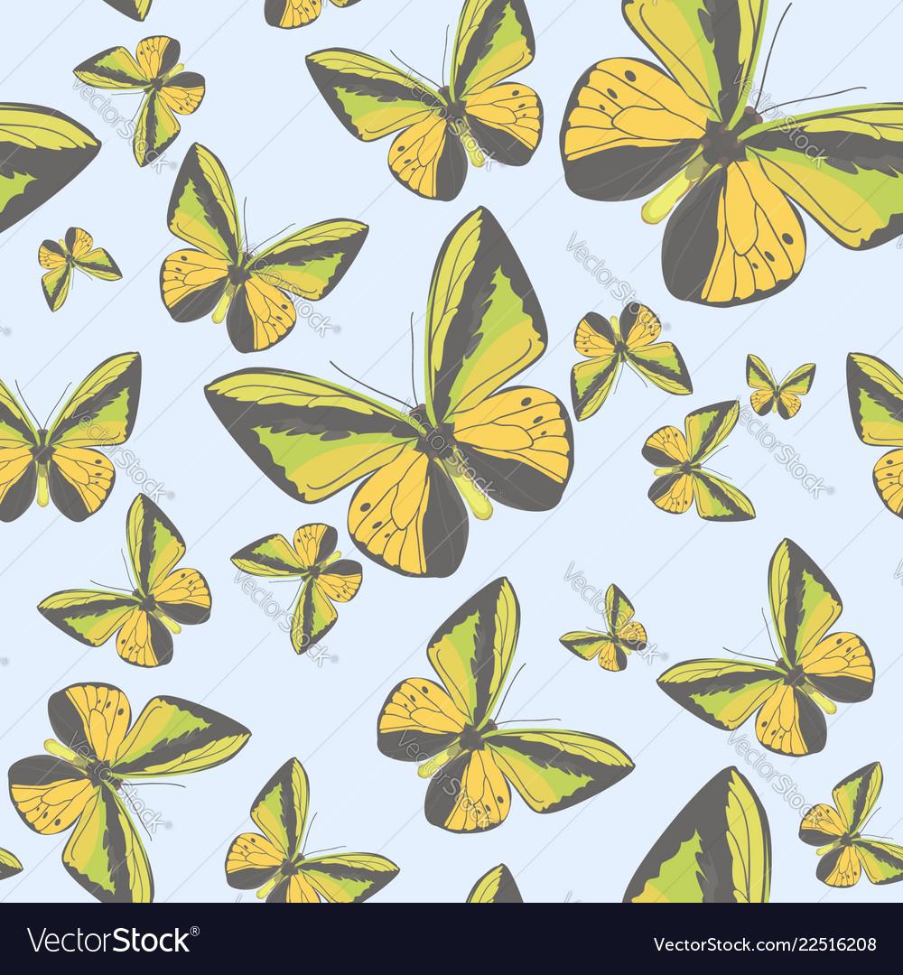 Summer seamless pattern with yellow butterflies