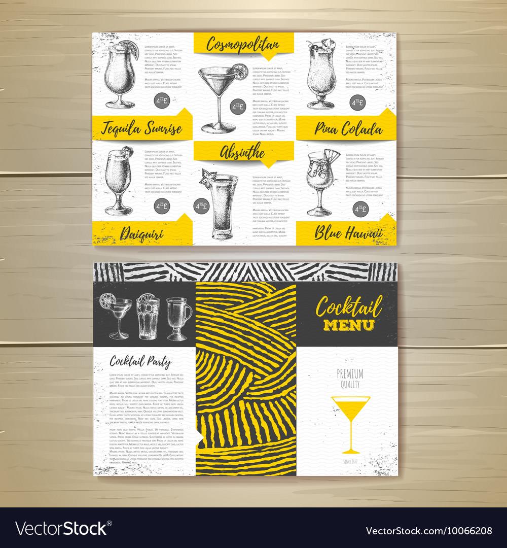 Vintage cocktail menu design vector image