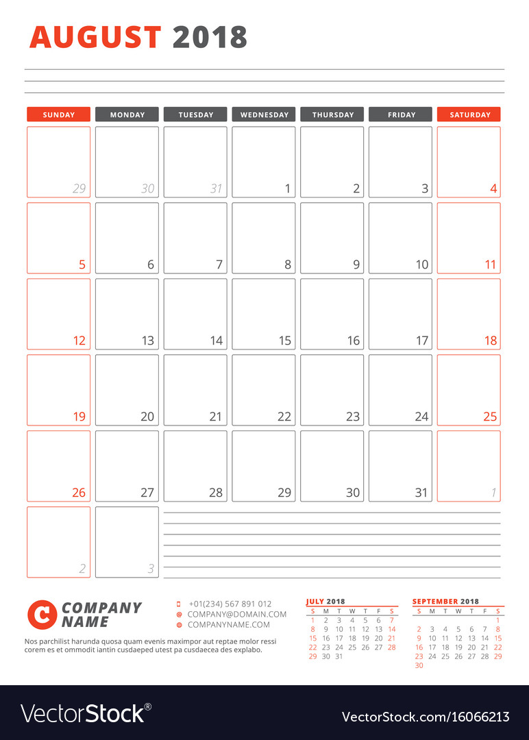 Calendar Template For 2018 Year August Business Vector Image On Vectorstock