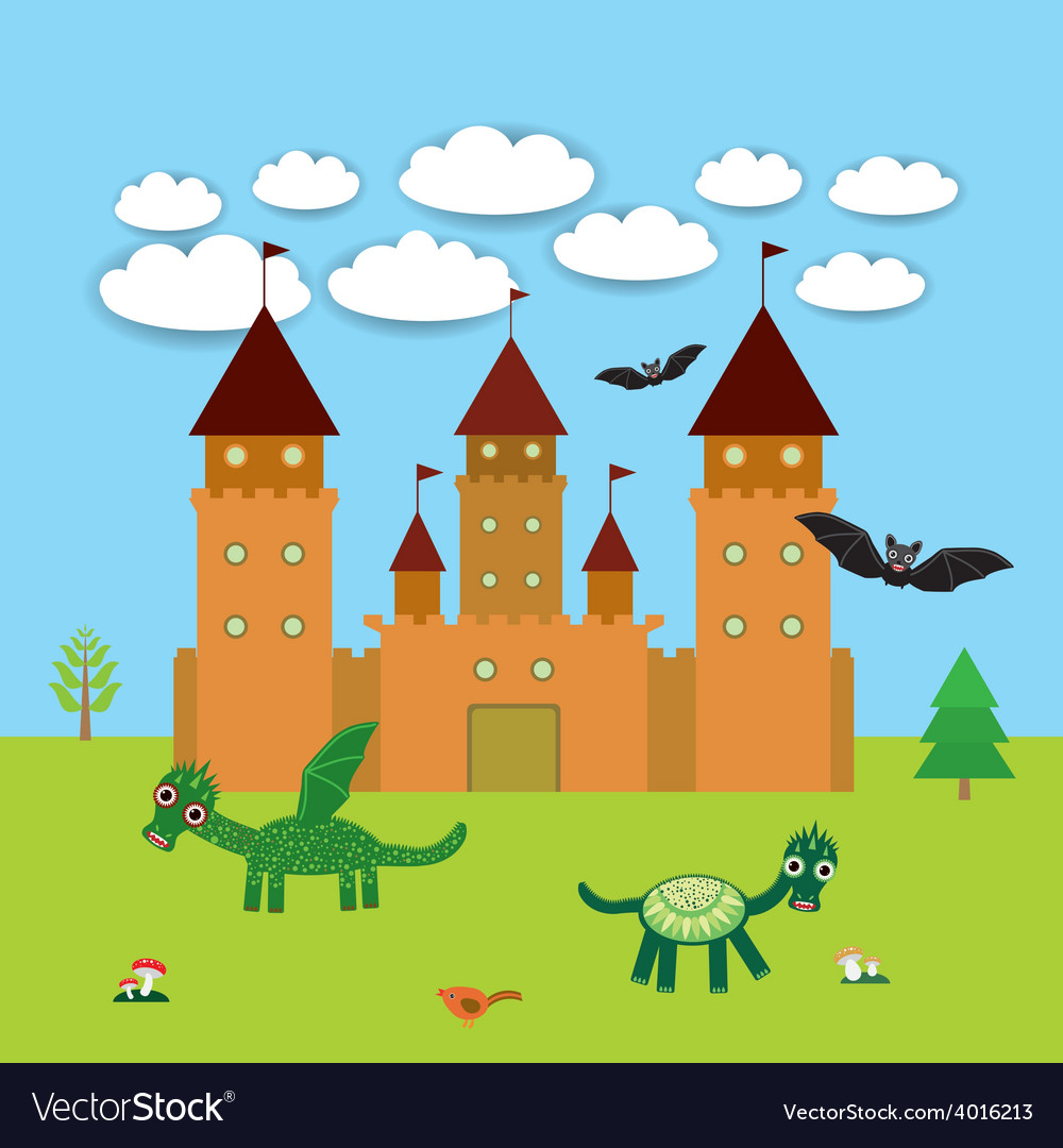 Card With Castle fairytale landscape with dragons
