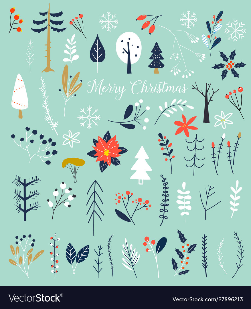 Christmas and happy new year winter plants and