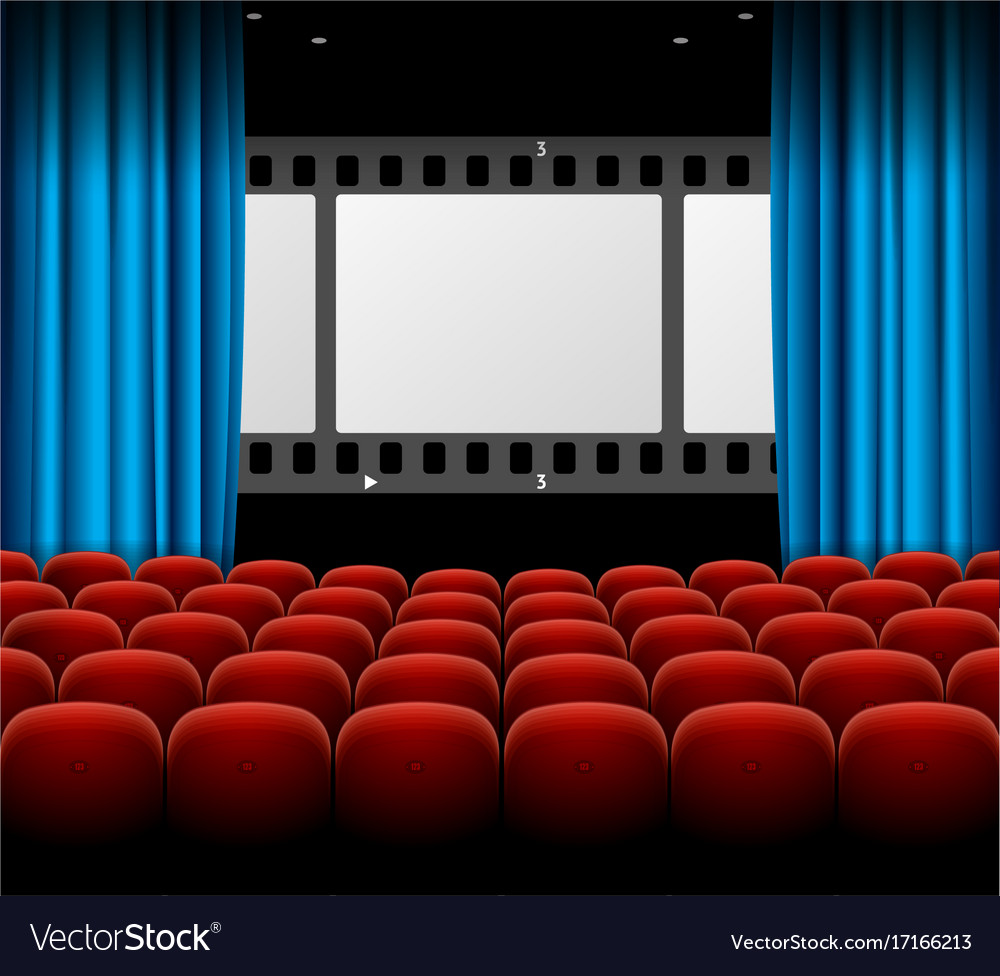 Cinema movie retro concept with seats rows film vector image