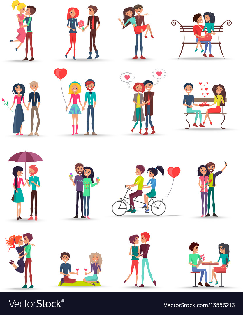 Dating of couples in love collection on white