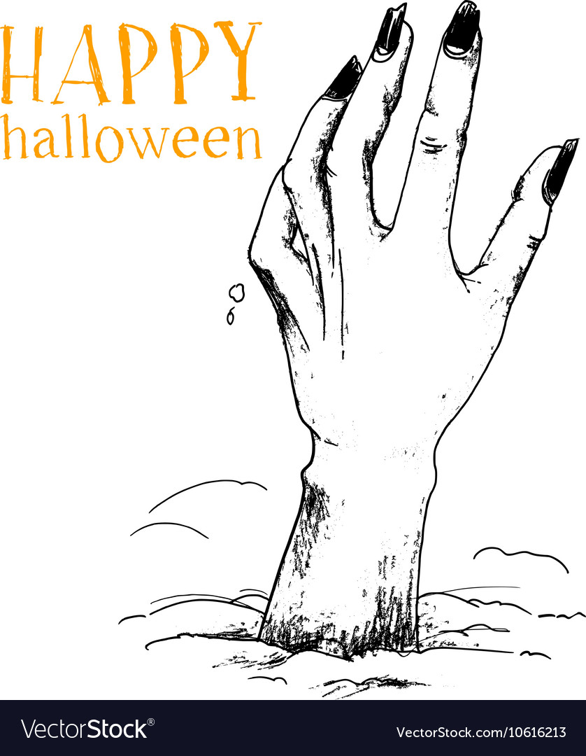 Halloween The hand of the zombie sticks out above