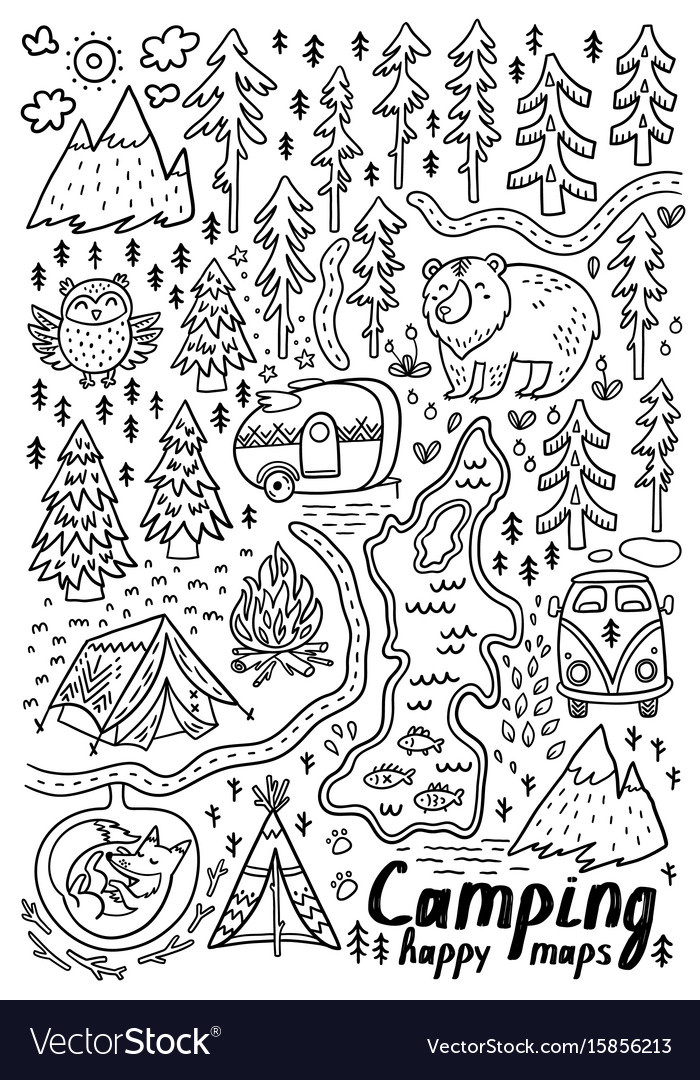 Hand drawn maps print for camping and