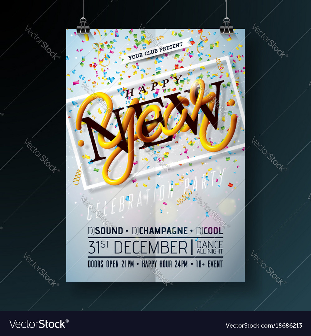 happy new year party celebration flyer template vector image