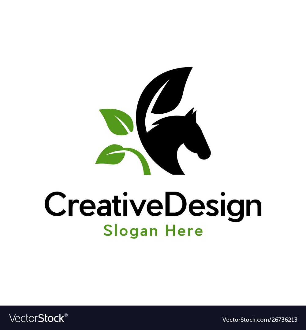 Horse wildlife animal leaf naturally logo vector image