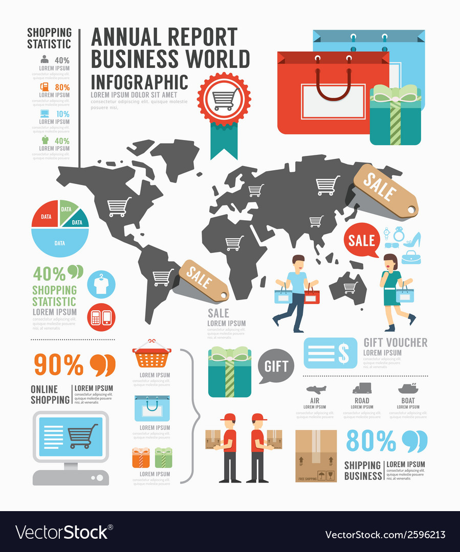 Infographic annual report business world industry
