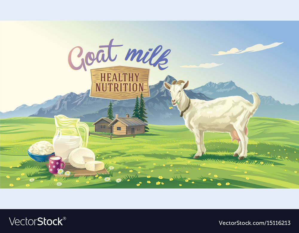 Mountan landscape and goat