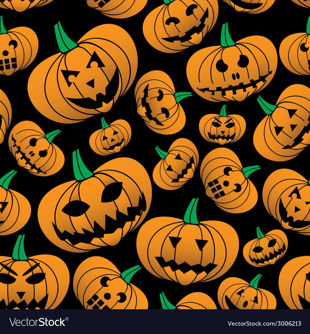 Orange halloween carved pumpkin seamless pattern