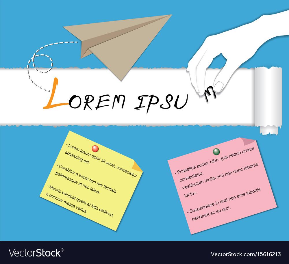 Paper plane with white hand lorem ipsum concept